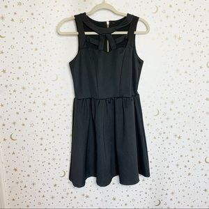 Black Cut Out Fit Flare Dress